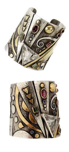 "Cuff bracelet   Linda Ladurner. ""Hommage à Kandinsky"". Silver, gold, rock crystal, tourmaline, sapphire and amethyst"