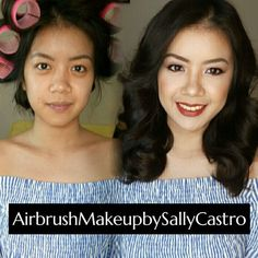 before and after makeup by sally castro  bridal makeup, wedding makeup, airbrush make up