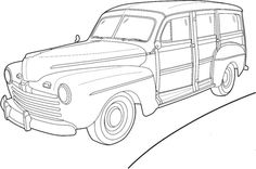 Ford Woody Wagon Coloring Page