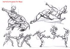 Dynamic Fighting Poses Fighting poses for maya08 by