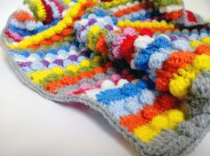 Unique Colorful Striped Baby Blanket  Stroller by HappyWoollies