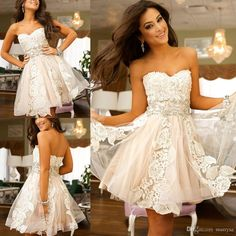 Pretty Girls Sweetheart Neckline Short Cocktail Party Dresses Tulle with Lace Sleeveless Beaded Knee Length A-line Zipper Homecoming Dresss Online with $88.12/Piece on Marrysa's Store | DHgate.com
