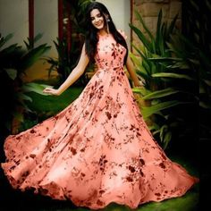 Trendy Satin Gown For Women's And Girl's Size : M (Bust - inches) L (Bust - inches) XL (Bust - inches) (Bust - inches) Fabric : Satin Type : Stitched Delivery : Within business days With MTR ghera Indian Gowns Dresses, Indian Fashion Dresses, Dress Indian Style, Indian Designer Outfits, Designer Gowns, Frock Fashion, Style Fashion, Floral Print Gowns, Printed Gowns