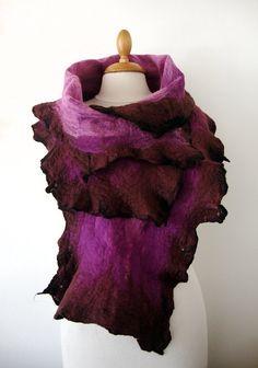 Hand felted scarf  nuno felt purple fushia and by GabardineCouture, 75.00