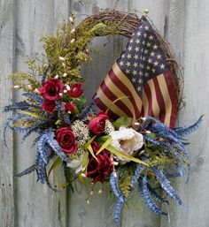 Fall Wreath, Autumn Floral Wreaths, Designer, Americana Decor, Patriotic, Tea Stained Flag. $149.00, via Etsy.