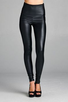 High Waisted Pleather Leggings