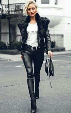 Micah Gianneli in a sexy Balmain Leather Outfit Black And White Outfit, White Outfits, Black Belt, Black Leather, Look Fashion, Korean Fashion, Winter Fashion, Street Fashion, Vogue Fashion