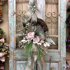 Excited to share this item from my shop: Christmas Wreaths, Christmas Door Decor, Hydrangea Christmas Wreath Christmas On A Budget, Christmas Wreaths To Make, Diy Christmas Tree, Silver Christmas, Holiday Wreaths, Winter Wreaths, Xmas Trees, Spring Wreaths, Summer Wreath