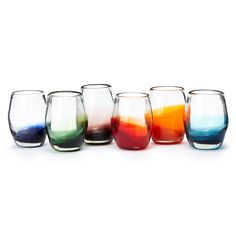 Create a festive tablescape with these colorful stemless goblets, handmade by Mexican artisans.