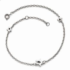 Jewelry Best Seller Stainless Steel Polished Stars with 1in extension Anklet >>> Want additional info? Click on the image. (This is an affiliate link and I receive a commission for the sales)