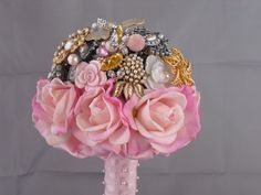 SALE  Pink Rose Jewelry Bouquet by FloralGemBouquets on Etsy, $150.00 I could use my old broches to make a keepsake!