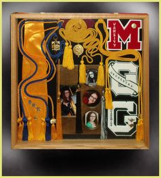 varsity letter in a shadow box