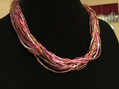 Many Shades of Pink Mauve Lavender Multi Strand Beaded Statement Necklace 18"