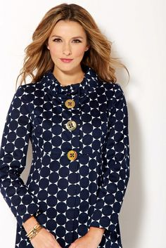Spring cotton polka dot jacket in navy by Sara Campbell. Made in USA.