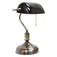 Shop for Simple Designs Executive Banker's Desk Lamp Green Glass Shade. Get free delivery On EVERYTHING* Overstock - Your Online Lamps & Lamp Shades Store! Get in rewards with Club O! Black Metal, Black Silver, Home Office, Bankers Desk Lamp, Piano Lamps, Piano Desk, Tv Wand, Metal Desks, Lamp Shade Store