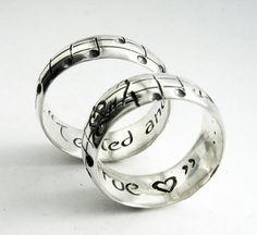 You are my melody. We are a harmony. Aren't these song-inspired wedding rings so thoughtful?