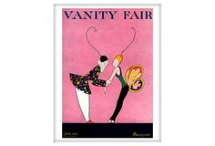 Condé Nast    Vanity Fair, July 1915  This A.H. Fish illustration appears on the July 1915 cover of Vanity Fair magazine. A clown in a printed peplum jacket with a white ruff grasps a young girl wearing butterfly wings who leans back against his pull. Both wear long antennae atop their heads.