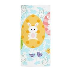 Easter Eggs & Bunnies Beach Towel- visit our shops www.cafepress.com/drapestudio and see more fun products with this easter design!  ORGANIC COTTON Blankets in our shop www.etsy.com/shop/drapestudio and fabric by the yard www.spoonflower.com/profiles/drapestudio Follow us www.facebook.com/drapestudioshop