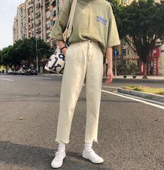 Look at this Trendy casual korean fashion Korean Outfits, Mode Outfits, Retro Outfits, Vintage Outfits, Casual Outfits, Korean Fashion Trends, Korean Street Fashion, Korea Fashion, Asian Fashion