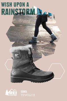 Here's the stylish way to deal with cold, rainy weather and the occasional polar vortex. The women's Sorel Tivoli II Mid Snow Boots have waterproof suede leather uppers lined with fleece and 100g insulation to keep your feet warm down to about -20°F. Available only at REI.