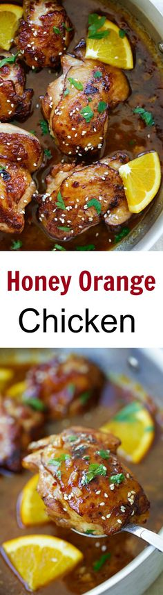 Honey Orange Chicken – skillet chicken with savory, sweet and tangy honey orange sauce. Easy recipe, takes 20 mins, great for dinner! | rasamalaysia.com
