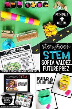 STEM Challenges and ELA activities to supplement Sofia Valdez, Future Prez by Andrea Beaty! Seesaw, Google Slides, and Printable formats included for first grade, second grade, and third grade | STEM Activities for Kids
