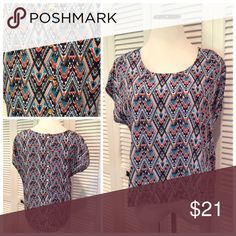 """Aztec print top New with tags dolman sleeve Aztec top. Slight high low hem and gold buttons down the back. Brand is wishful park. Size M: 21""""UA, 21""""L in front 25""""L in back. Tops Blouses"""