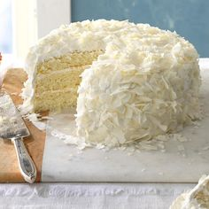 Favorite Coconut Cake Recipe -When I need an impressive dessert for a special occasion, this is the recipe I depend on. My guests are glad I do! —Edna Hoffman, Hebron, Indiana appropriate real world Coconut Recipes, Baking Recipes, Cake Recipes, Coconut Cakes, Best Coconut Cake Recipe, Lemon Cakes, Coconut Desserts, Frosting Recipes, Dessert
