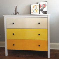 So pleased with this ombre chest of drawers! My first Ikea hack and a great way to make a room more cheerful.