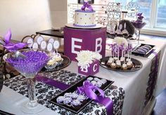 Purple baby shower dessert table