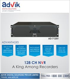 Advik's 128CH #NVR is a king amongst recorders. This is one #surveillancerecording device loaded with numerous exceptional features. Flexible mounting options allow for installation as a dektop or rack mount depending on availability of space. It supports cloud recording via Google Drive and Drop box, which allow for remote access and viewing. Other key features include HDMI, VGA, ONVIF, P2P, Watermark, E-SATA, Raid support and 16 SATA HDD. This king of recorders offers video and image…