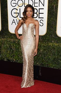 NAOMIE HARRIS SERVES OLD SCHOOL HOLLYWOOD SHIMMER AT THE GOLDEN GLOBE AWARDS | Custom Armani Privé Embellished Strapless Dress Tiffany & Co. Jewelry Jimmy Choo Shoes