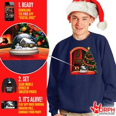 SALE Digital Dudz Christmas Jumper S M L Snowglobe Jersey Xmas Sweater Cheap