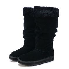 Black Leather Knee High Gothic Winter Snow Boots Women Large Size SKU-11405269