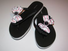 Baseball Flip Flops Bow  Softball  Mom Girl Boutique Sports Ribbon Flip Flops choose your ribbon and team colors