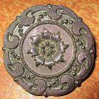 Antique Button - Victorian Lacy Glass Medium Flower - Black w Silver Luster - ANTIQUE, Black, Button, Flower, Glass, Lacy, Luster, Medium, SILVER, Victorian