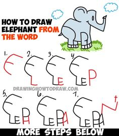 Learn How to Draw Cartoon Elephants from the word Elephant - Easy Word Cartoons Drawing Tutorial for Kids