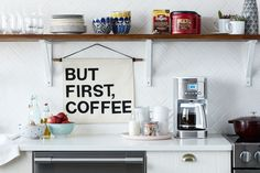 How to Make a Buzz-Worthy Hanging Wall Banner — Fueled by Folgers® Coffeehouse Blend | Apartment Therapy