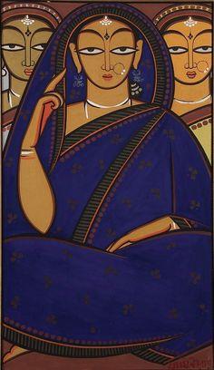 painting of three women by the Indian modernist Jamini Roy Indian Folk Art, Indian Artist, Indian Contemporary Art, Modern Art, Jamini Roy, Bengali Art, Madhubani Art, Indian Art Paintings, Tribal Art