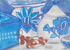 Original ACEO blue  white ceramic jars and berries drawing by 10 years old ArB  #Realism by Athena Bencivenga, daughter of Jenny Luan
