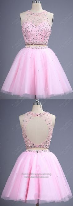 Pink Formal Dresses Short, Two Piece Homecoming Dresses Elegant, A Line Prom Dresses Open Back, Tulle Cocktail Dresses With Beading Vintage Homecoming Dresses, Vintage Formal Dresses, Cheap Formal Dresses, Dresses Short, Pink Prom Dresses, A Line Prom Dresses, Dresses For Teens, Evening Dresses, Party Dresses
