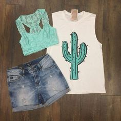 This minty cactus adorned muscle tank is so adorable paired with our mint lace…