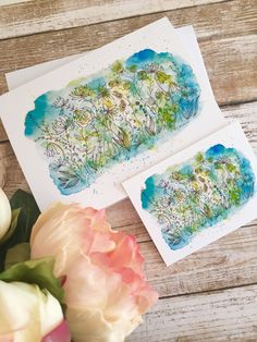 Watercolour illustration note card with matching gift tag.  Delicate shades of green forest Watercolour Illustration, Watercolor Cards, Watercolor Print, Beautiful Color Combinations, Matching Gifts, Sell On Etsy, Shades Of Green, White Envelopes, Note Cards