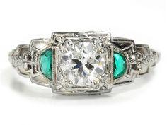 Steps of Art Deco: Diamond & Emerald Ring - The Three Graces