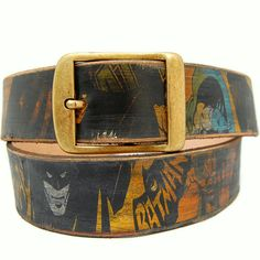 Leather belt - BATMAN design --- 3 year anniversary gift =leather & crystal.