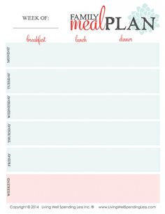 While planning a week's worth of meals all at once can sometimes feel overwhelming, it doesn't have to be!  This helpful printable worksheet can help you quickly and easily plan your family's meals for the week in just a few minutes.