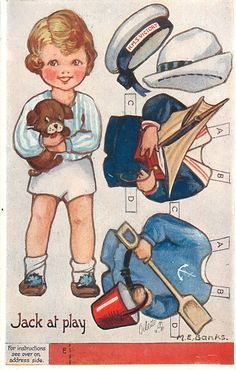 Jack at Play. Cut-out postcard enabling children to cut out the garments and fit them on the body of the doll character Jigsaw Puzzle Pieces) Framed, Poster, Canvas Prints, Puzzles, Photo Gifts and Wall Art Fine Art Prints, Canvas Prints, Framed Prints, Paper Art, Paper Crafts, Motif Vintage, Images Vintage, Vintage Postcards, Paper Dolls Printable