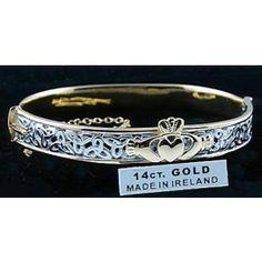 White Gold Sterling Silver Claddagh Celtic Knot Bangle Bracelet Irish d v Pandora Bracelets, Bangle Bracelets, Bangles, Celtic Wedding Bands, Celtic Knot, Irish Celtic, Girls Necklaces, Claddagh, Jewelry Stores