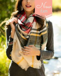 Grace and Lace - (**new item**) Blanket Scarf/Toggle Poncho in Red/Sage Plaid, $34.00 (http://www.graceandlace.com/all/new-item-blanket-scarf-toggle-poncho-in-red-sage-plaid/)