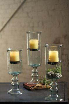 Mini Glass Cylinder W/Insert On A Glass Pedestal - Large